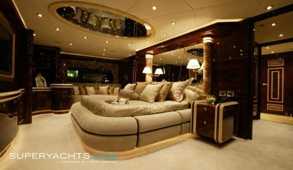 "Interiors onboard the Millenium 140 ""The World is not Enough"" at the Ft. Lauderdale Boat Show."